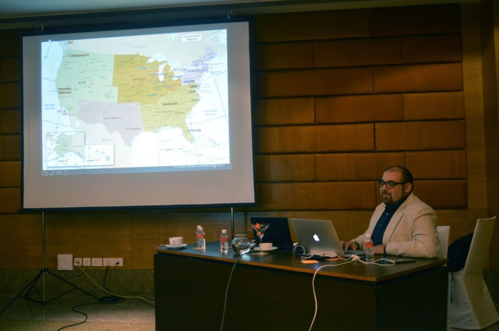 IvyAchievement founder and CEO delivering a presentation on American geography to students in Lucknow, India.