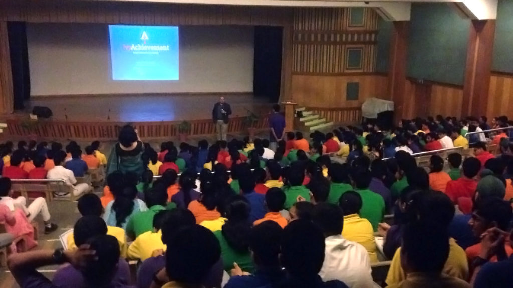 IvyAchievement founder and CEO Ben Stern addresses students at Delhi Public School Vasant Kunj.