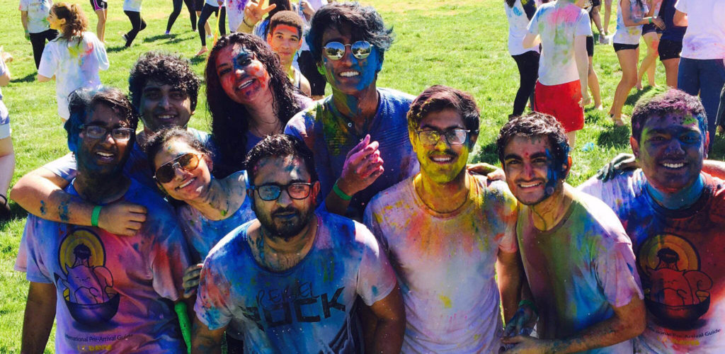 Indian students celebrate Holi at the University of California, Davis with Indian student groups
