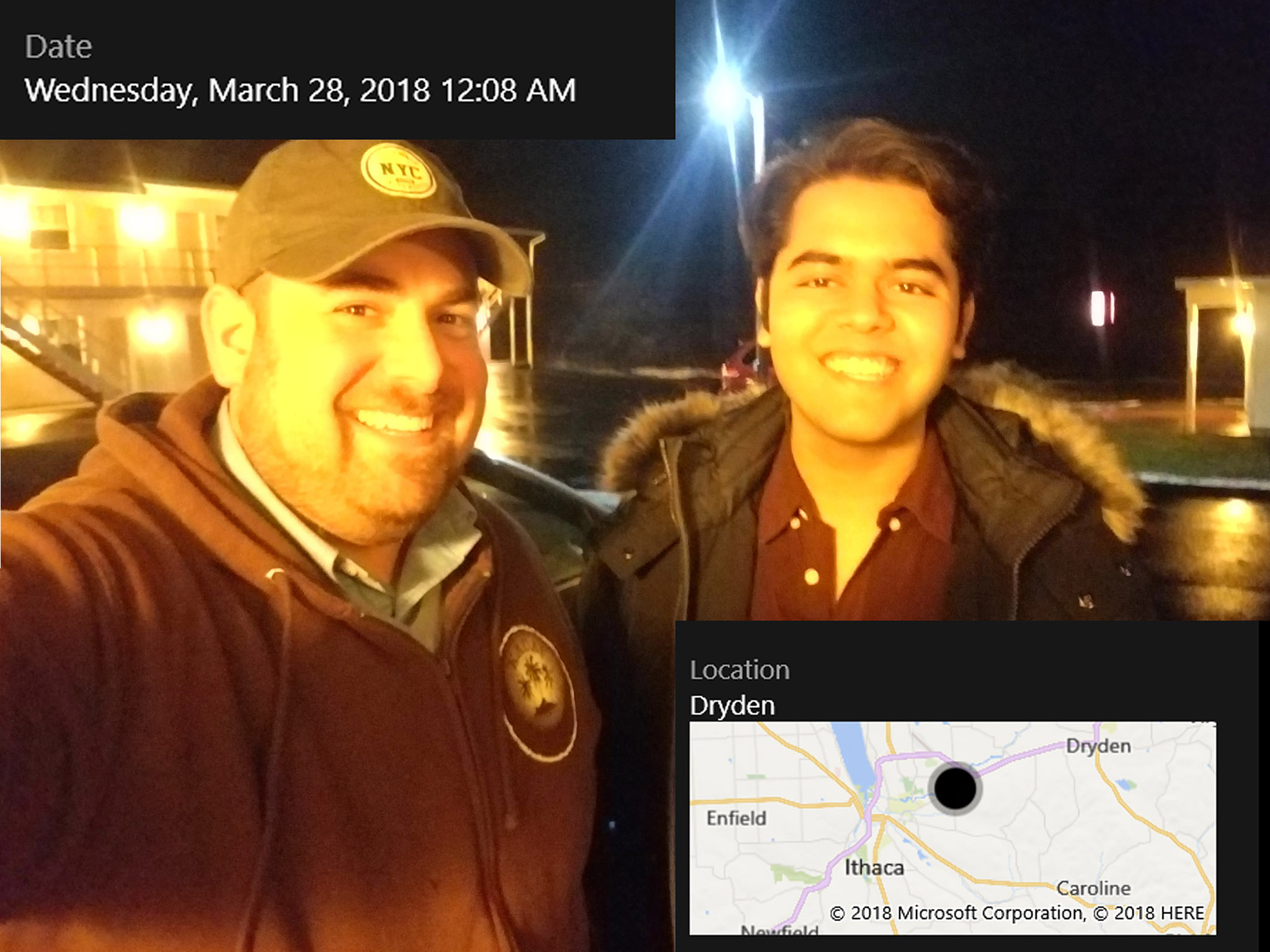 Ben Stern and Mohak Sharma grab a selfie after arriving in Ithaca, NY