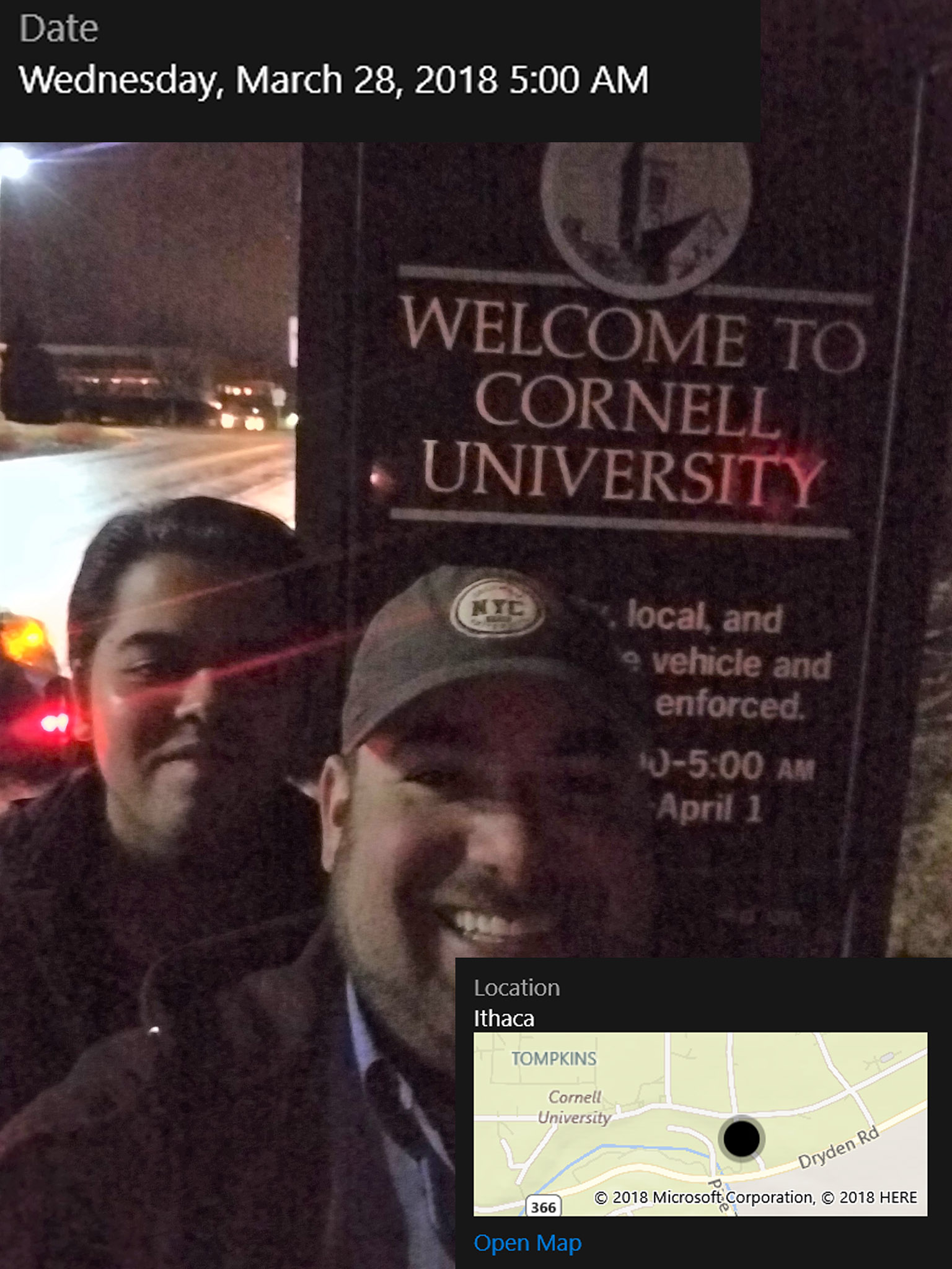 It's still dark out and Ben and Mohak have a lot of driving to do, so they won't be seeing much of Cornell's campus.