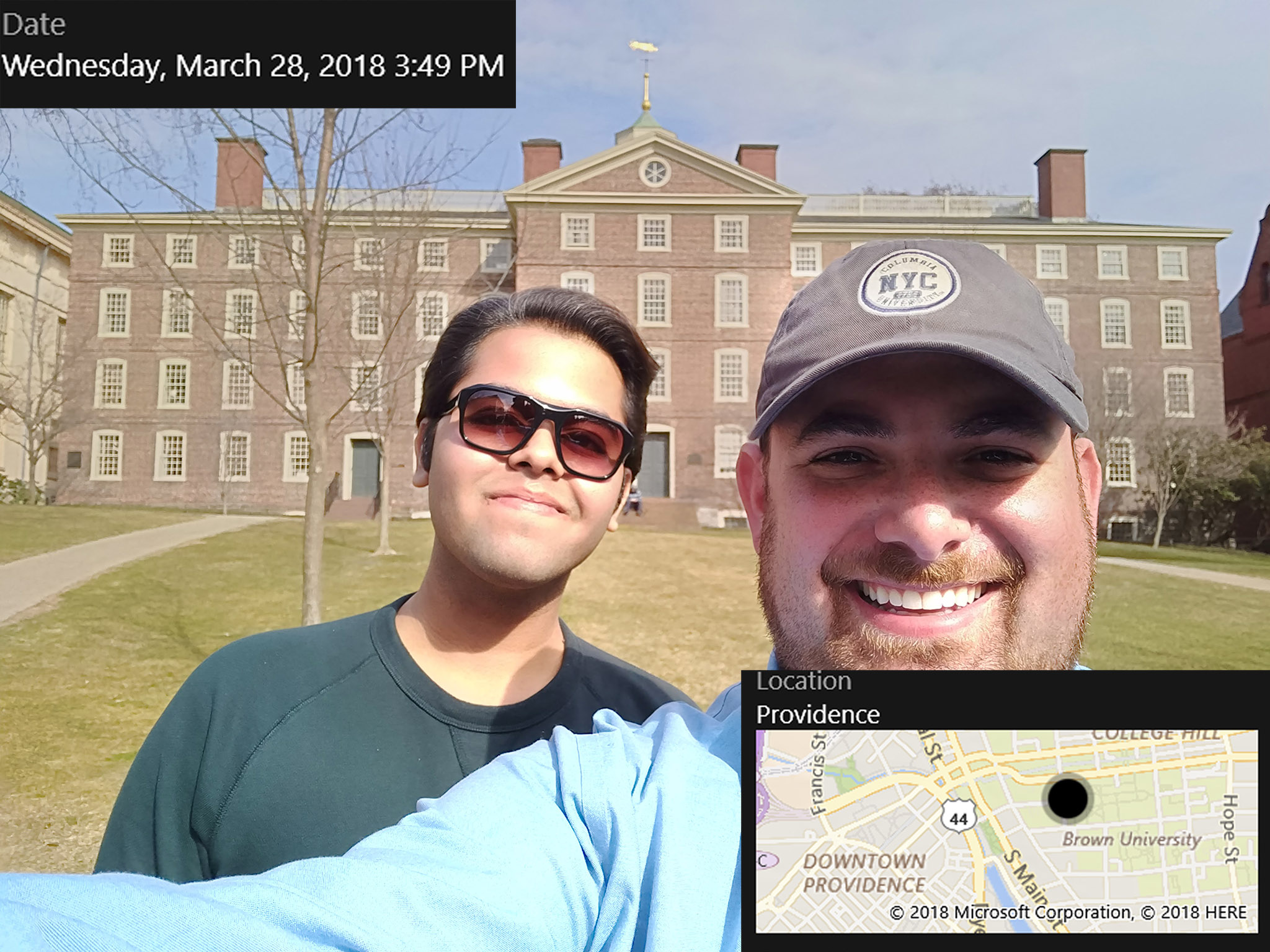 Ben and Mohak reached Brown at 3:49pm, just 19 minutes behind schedule!.So far, so good! In the background is University Hall, the oldest building at Brown, constructed in 1770.