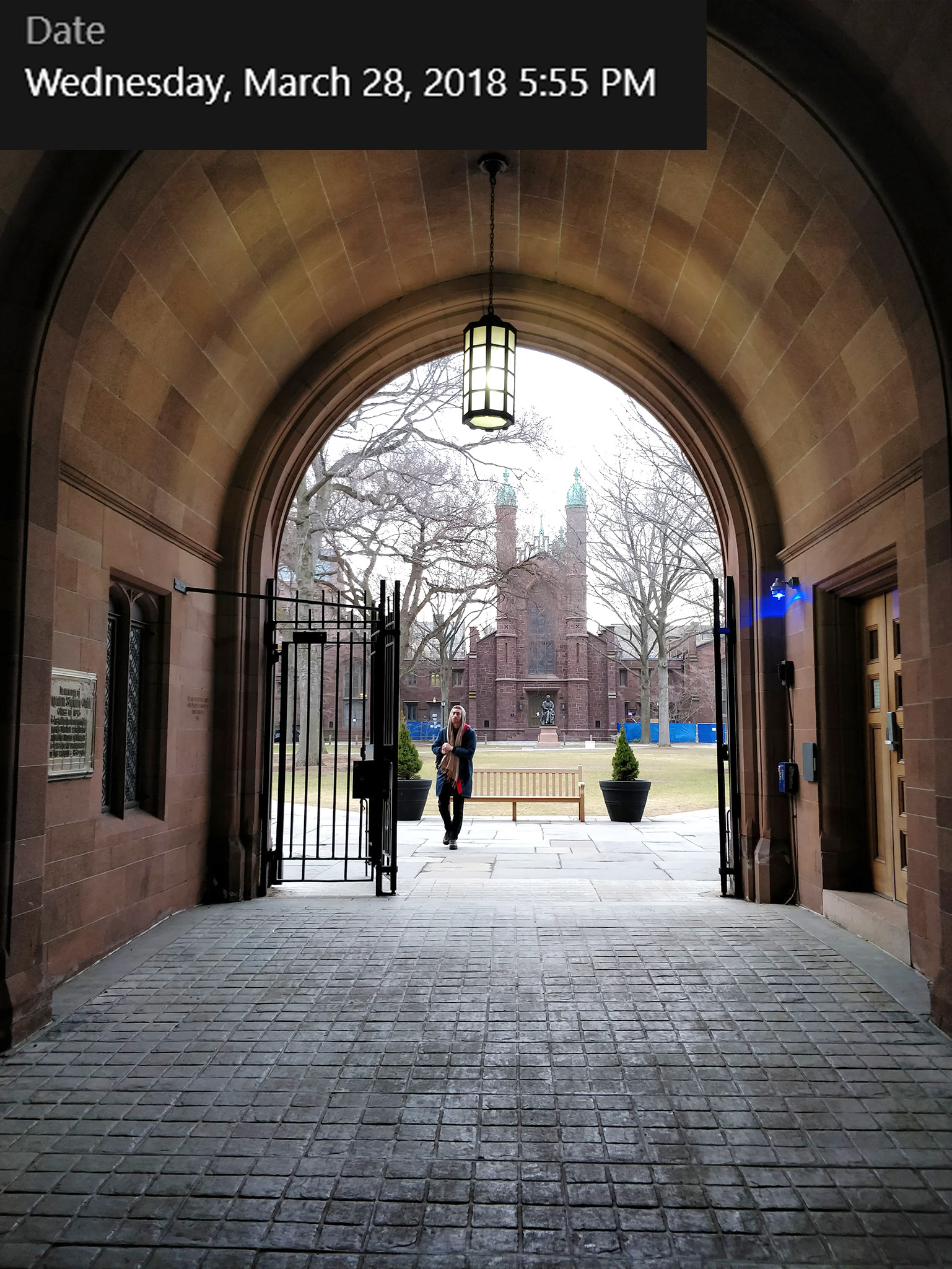 Looking into Old Campus through Phelps Gate (constructed 1896).