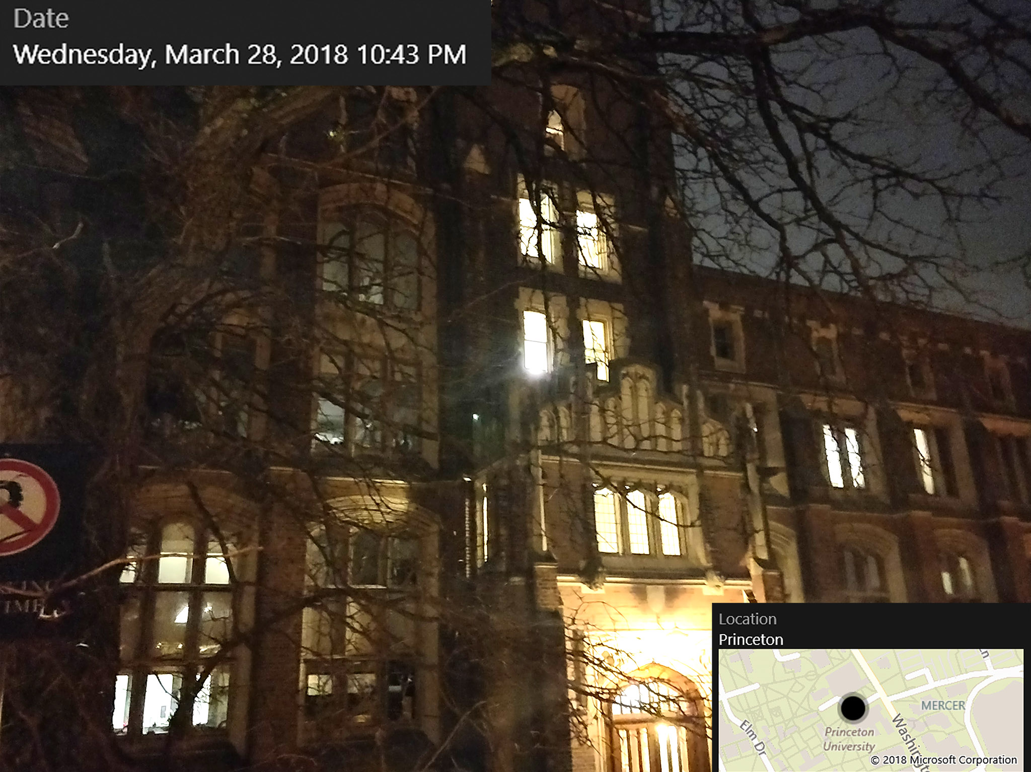 Ben and Mohak made excellent time to Princeton and arrived at 10:43pm, just 13 minutes behind schedule. This picture shows Guyot Hall, which houses Princeton's geosciences department and exhibits various writings and artifacts originally belonging to Benjamin Franklin and others.