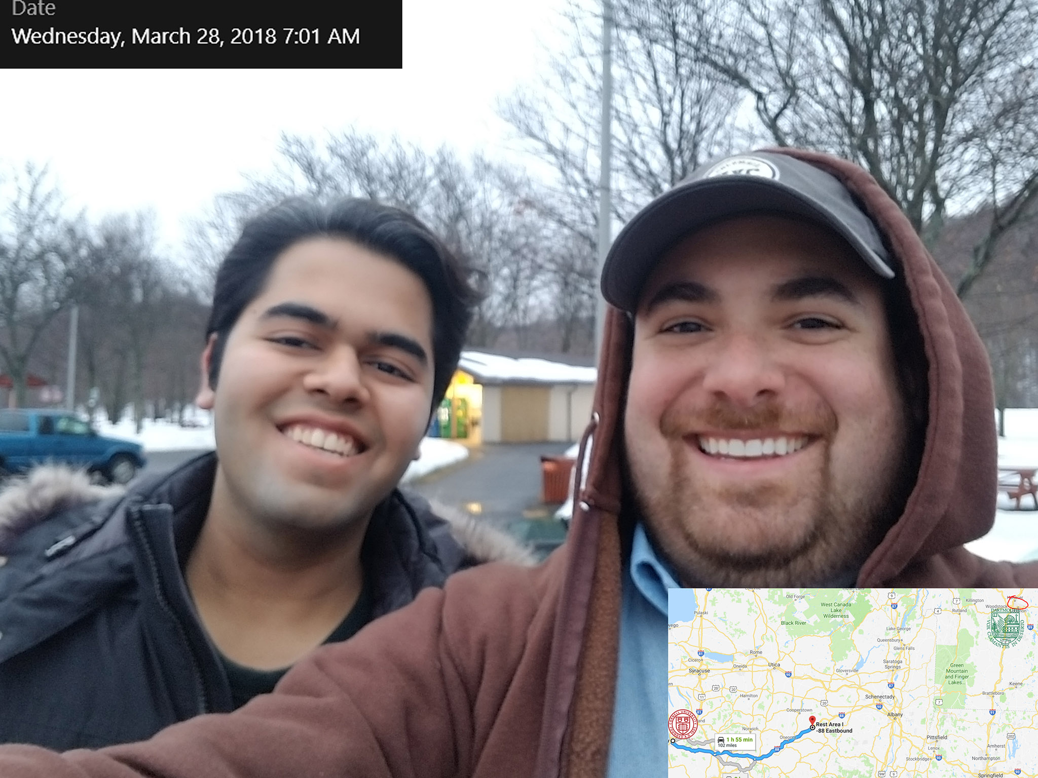 The first leg of the trip was the longest. Ben and Mohak took their first break after two hours of driving.