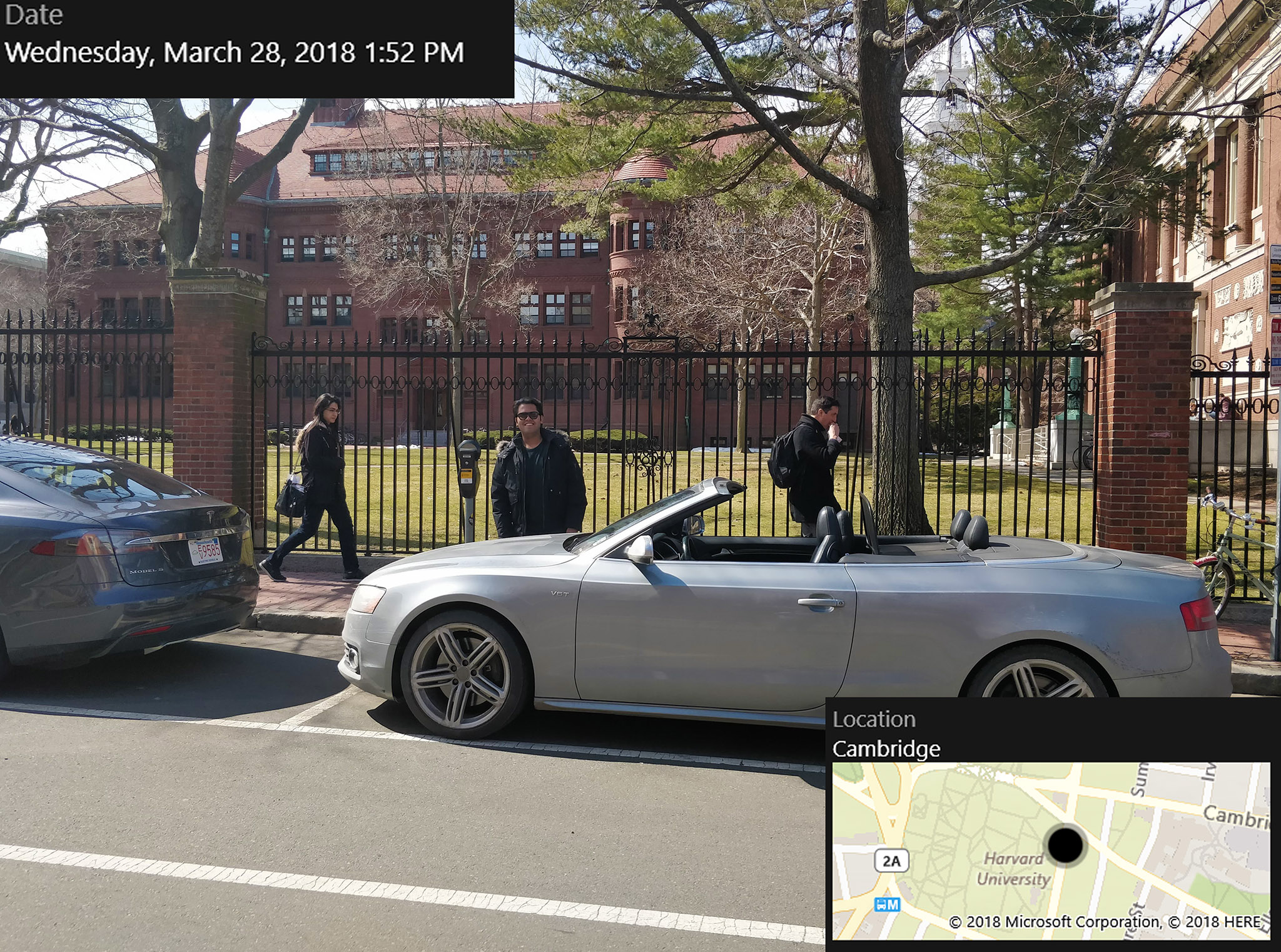 """Pahk your cah in Hahvahd Yahd"" - Ben and Mohak did the next best thing, and parked their car at Harvard Yard."